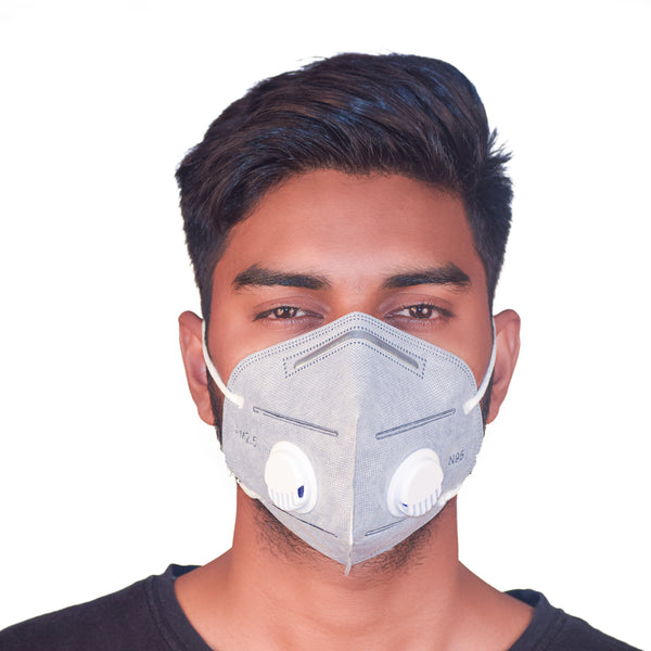 N95 Dual Respirator Anti Pollution  Mask  Grey (Pack of 5)