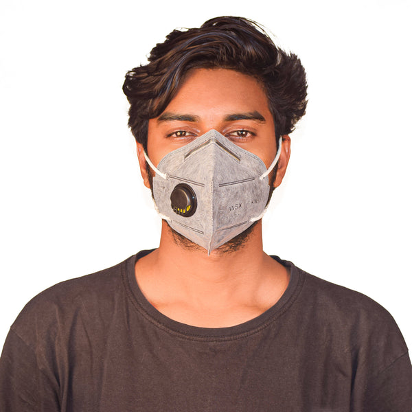 N95 Anti Pollution Virus Protection Mask Grey With Respirator (Pack of 5)