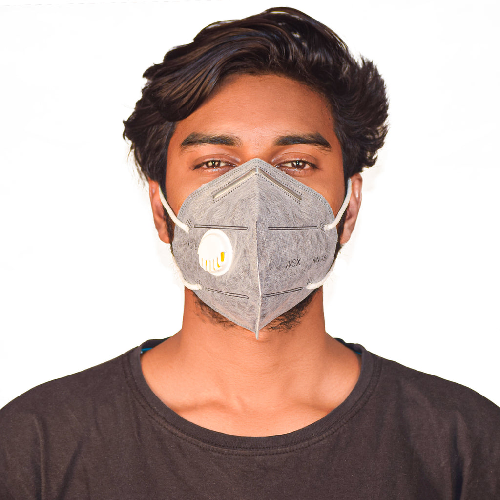 N95 Anti Pollution Virus Protection Mask With Respirator Grey (Pack of 5)