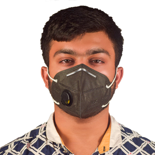 N95 Anti Pollution Virus Protection Mask Black With Respirator (Pack of 5)