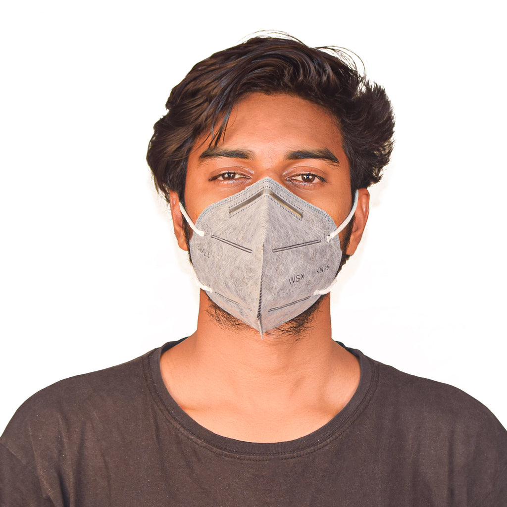 N95 Anti Pollution Virus Protection Mask Without Respirator Grey (Pack of 5)