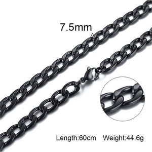 Silver Gold Filled Solid Necklace Curb Chains Link Men Choker Stainless Steel Male Female Accessories Fashion