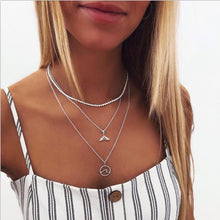 Load image into Gallery viewer, IF ME Vintage Multilayer Crystal Pendant Necklace Women Gold Color Beads Moon Star Horn Crescent Choker Necklaces Jewelry New