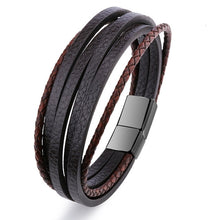 Load image into Gallery viewer, Bracelet Men Multilayer Leather Bangles Magnetic-clasp Cowhide Braided Multi Layer Wrap Trendy Bracelet Armband pulsera hombre