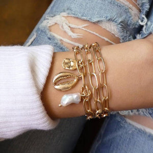 LETAPI 4 Pcs/Set Vintage Geometric Arrow Metal Chain Gold Color Bracelets for Woman Bohemian Beach Bangle Jewelry