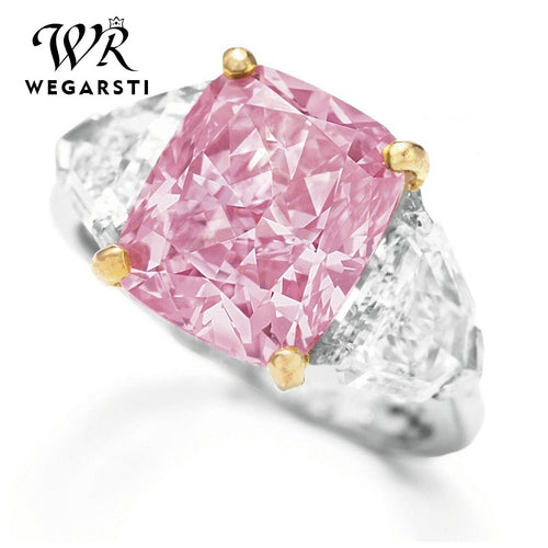 WEGARSTI 925 Silver Jewelry Top Quality Minimalist Pink Stone Rings for Women Triangular Crystal Ring Wedding Engagement Gifts