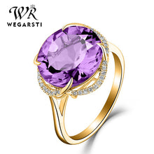 Load image into Gallery viewer, WEGARSTI 925 Silver Jewelry For Women With pointed Navy Round Pueple Yellow Stone Fine Jewelry Engagement Valentine's Gifts
