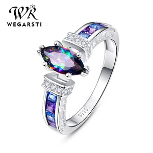 WEGARASTI Silver 925 Jewelry Silver 925 Ring for Women with oval Rainbow Fire Mystic Topaz Gemstone Silver Jewelry Fine Jewely