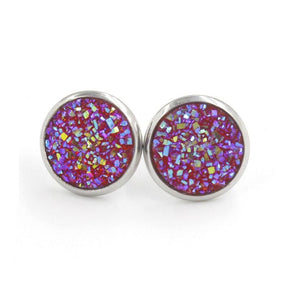 Fnixtar 12mm 100% Stainless Steel Shinning Resin Stud Earring for Women Top Quality Fashion Earrings Party Ear Jewelry