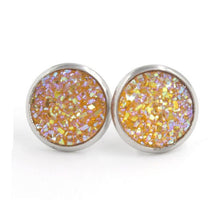 Load image into Gallery viewer, Fnixtar 12mm 100% Stainless Steel Shinning Resin Stud Earring for Women Top Quality Fashion Earrings Party Ear Jewelry