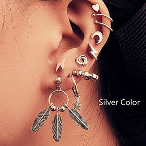 Vintage Metal Earrings Map Heart Moon Star Stud Earrings Set For Women Bohemian Cactus Mixed Bohemian New Femme Earrings Jewelry