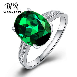 WEGERSTI 925 Sterling Silver Jasper Ring For Women Green Natural Stone Wedding Bands Jewelry Ring For Gift Wholesale