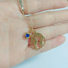 Load image into Gallery viewer, World Map Necklace Globetrotter Gold Map Pendant World Choker Map Crescent Moon Necklaces&Pendants Dainty Pendants For Women