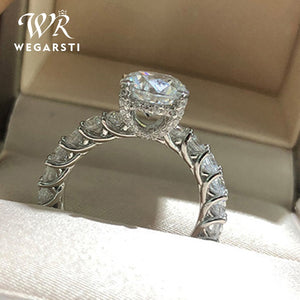 WEGARSTI 925 Silver Jewelry Big Cubic Zirconia Ring Fashion Wedding Jewelry Female Engagement Ring Female Crystal Silver Party