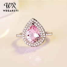 Load image into Gallery viewer, WEGARSTI Heart Shaped Water Drop Zircon Set 925 Silver Jewelry Pink Red European Style Engagement Gift Ring Women Fine Jewelry