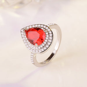 WEGARSTI Heart Shaped Water Drop Zircon Set 925 Silver Jewelry Pink Red European Style Engagement Gift Ring Women Fine Jewelry