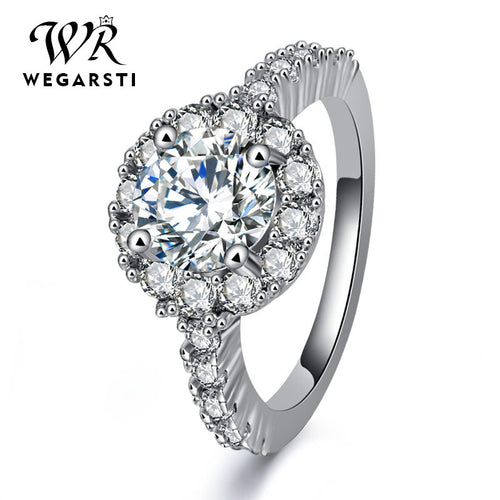 WEGERSTI European Style Trendy Circular Mosaic White 925 Silver Jewelry Wedding Bands gifts Ring For Women Drop Shiping