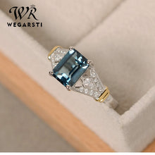 Load image into Gallery viewer, WERGARSTI S925 Sliver Jewelry Luxury Greenl Blue Big Square Crystal AAA Cubic Zirconia Silver Rings for Women Engagement Gift
