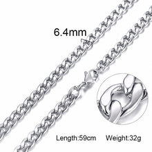Load image into Gallery viewer, Silver Gold Filled Solid Necklace Curb Chains Link Men Choker Stainless Steel Male Female Accessories Fashion