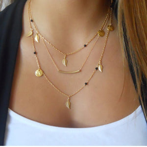 IF ME Vintage Multilayer Crystal Pendant Necklace Women Gold Color Beads Moon Star Horn Crescent Choker Necklaces Jewelry New