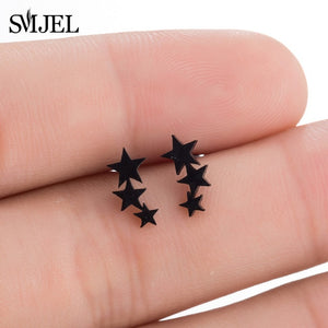 SMJEL Fashion Bohemian Vintage Earrings Jewelry Cute Black Geometric Round Stainless Steel Stud Earring Best Gift for Women Girl