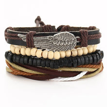 Load image into Gallery viewer, IF ME Vintage Leaf Feather Multilayer Leather Bracelet Men Fashion Braided Handmade Star Rope Wrap Bracelets & Bangles Male Gift