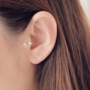 Single Earring Unique New Silver Filled Alloy Branch Tragus Piercing Earring For Women Non Piercing Clip Earring 2019