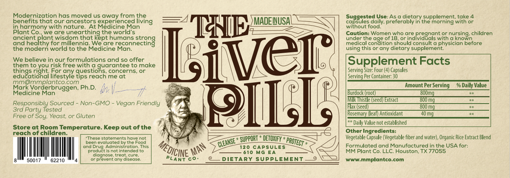 Medicine Man Plant Co. The Liver Pill Burdock Root, Milk Thistle, Flaxseed