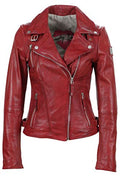 Freaky Nation Damen LederJacke Biker Princess Echtleder, Lederjacke für Damen, Rot (Apple 4068),