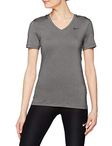 Nike Damen T-shirt Victory Kurzarm Dri-fit ,T-Shirts für Damen, Grau (Carbon Heather/Black/091), Gr. S