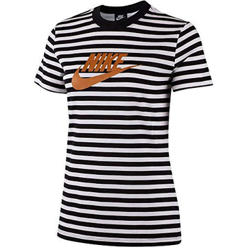 Nike Frauen T-Shirt Top Short-Sleeve La, Nike Damen T-shirts Weiß/Schwarz, M, CD4145-100
