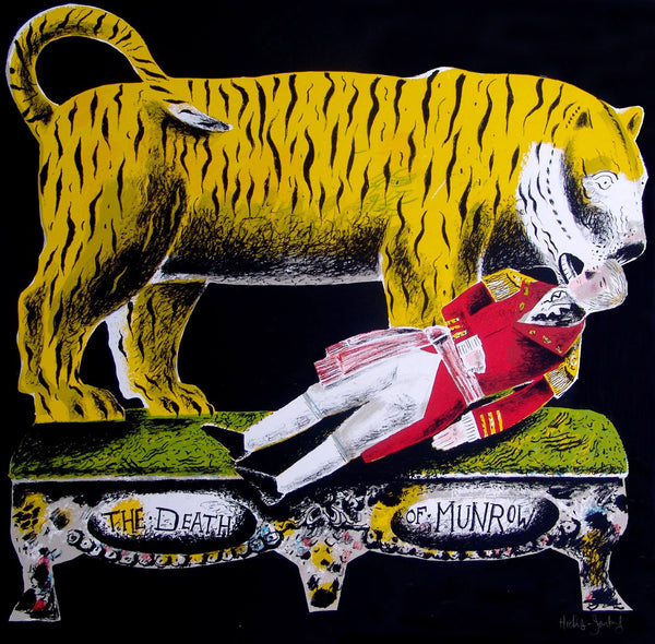 Man Slain by Tiger screen print by Clive Hicks-Jenkins