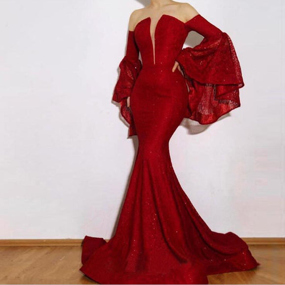 2020 Mermaid Long Sleeves Lace Celebrity Red Carpet Dress Formal Evening Gown