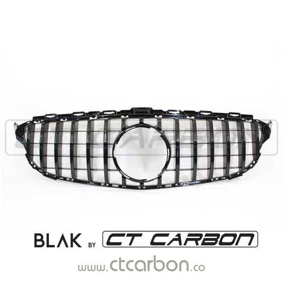 MERCEDES W205 C CLASS 2014-2018 AMG GTR STYLE GRILL - FIT ALL COUPE AND SALOON EXCEPT C63 AMG (WITHOUT CAMERA) - BLAK BY CT CARBON - CT Carbon
