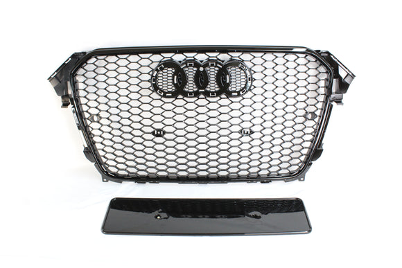 AUDI A4 S4 B8.5 2012-2016 ALL BLACK HONEYCOMB GRILL - BLAK BY CT CARBON - CT Carbon
