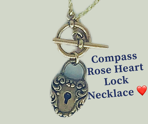 Ginger Threads Collections Blog: Compass Rose Heart Lock Necklace