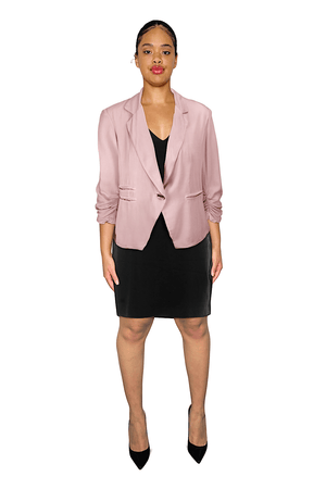 Ginger Threads Collections Blazer Soft Pink Summer Blazer With Ruched Sleeves