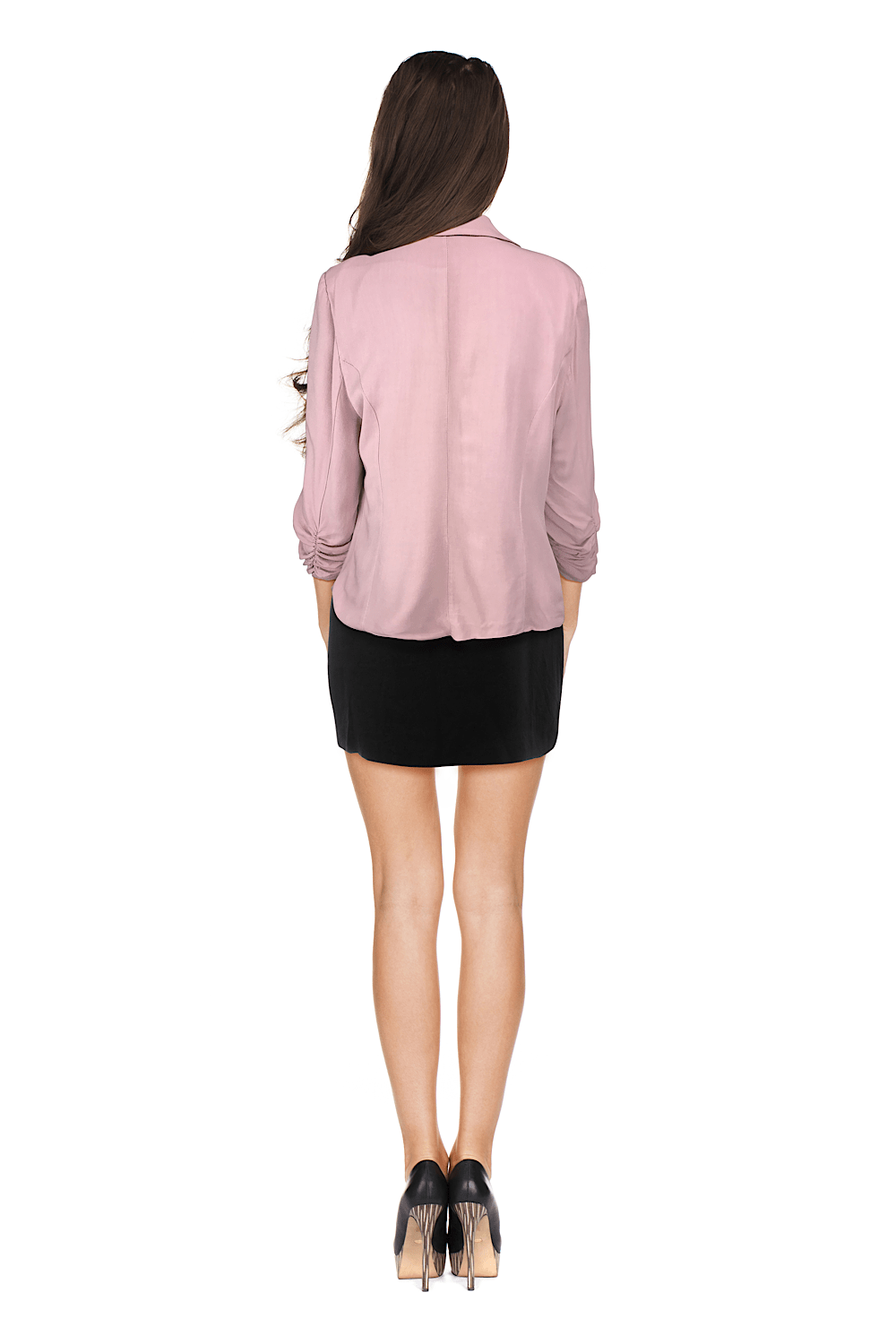 Soft Pink Summer Blazer With Ruched Sleeves