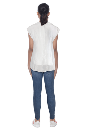 Ginger Threads Collections blouse White Silk Cowl Neck Blouse