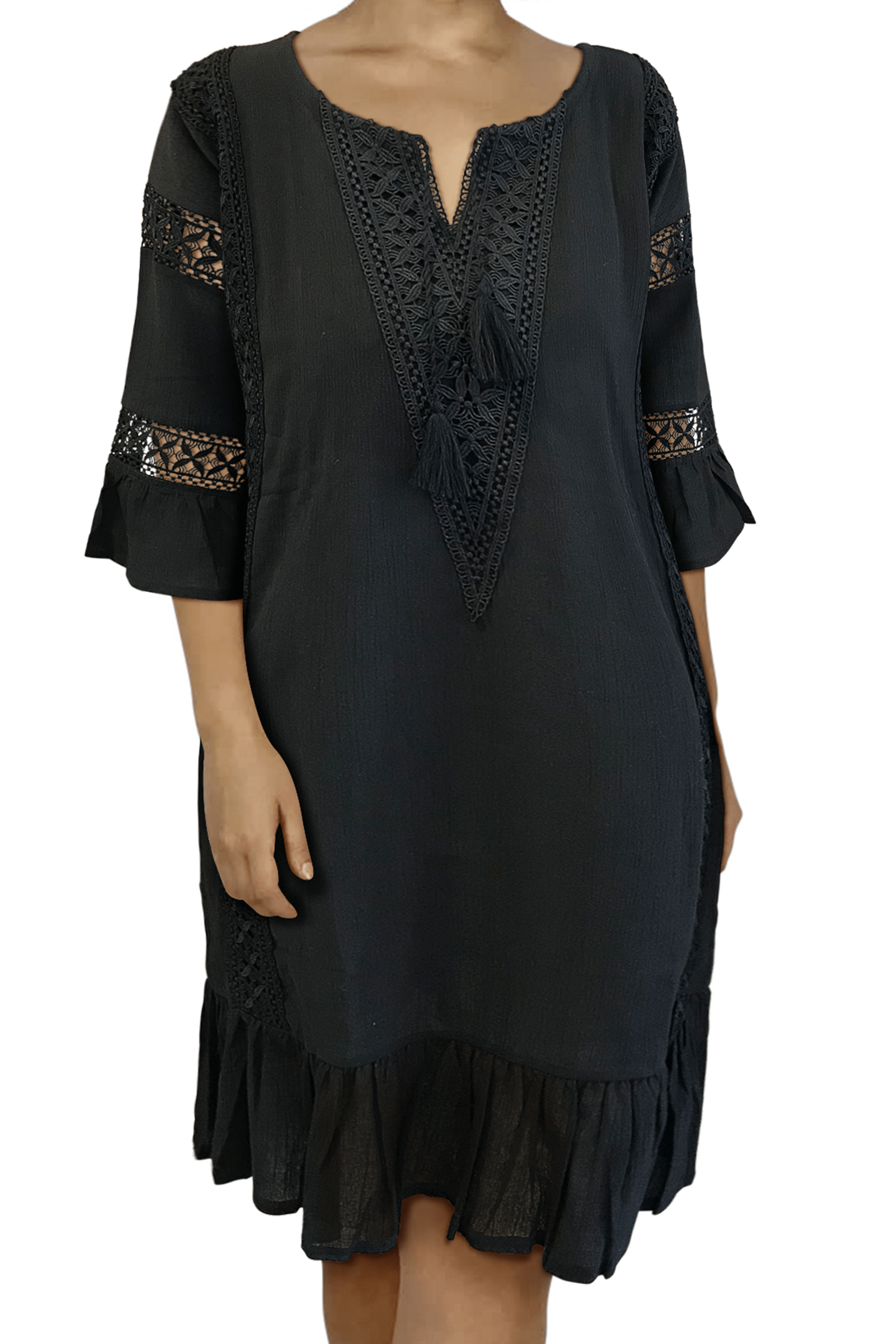 Ginger Threads Collections dress Black Boho Dress with lace accents