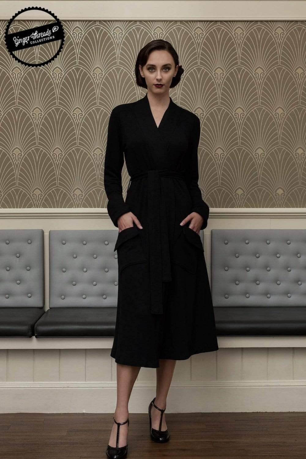Ginger Threads Collections dress Black Wrap Coat Dress