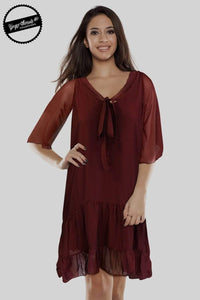 Ginger Threads Collections dress Merlot Silk Dress