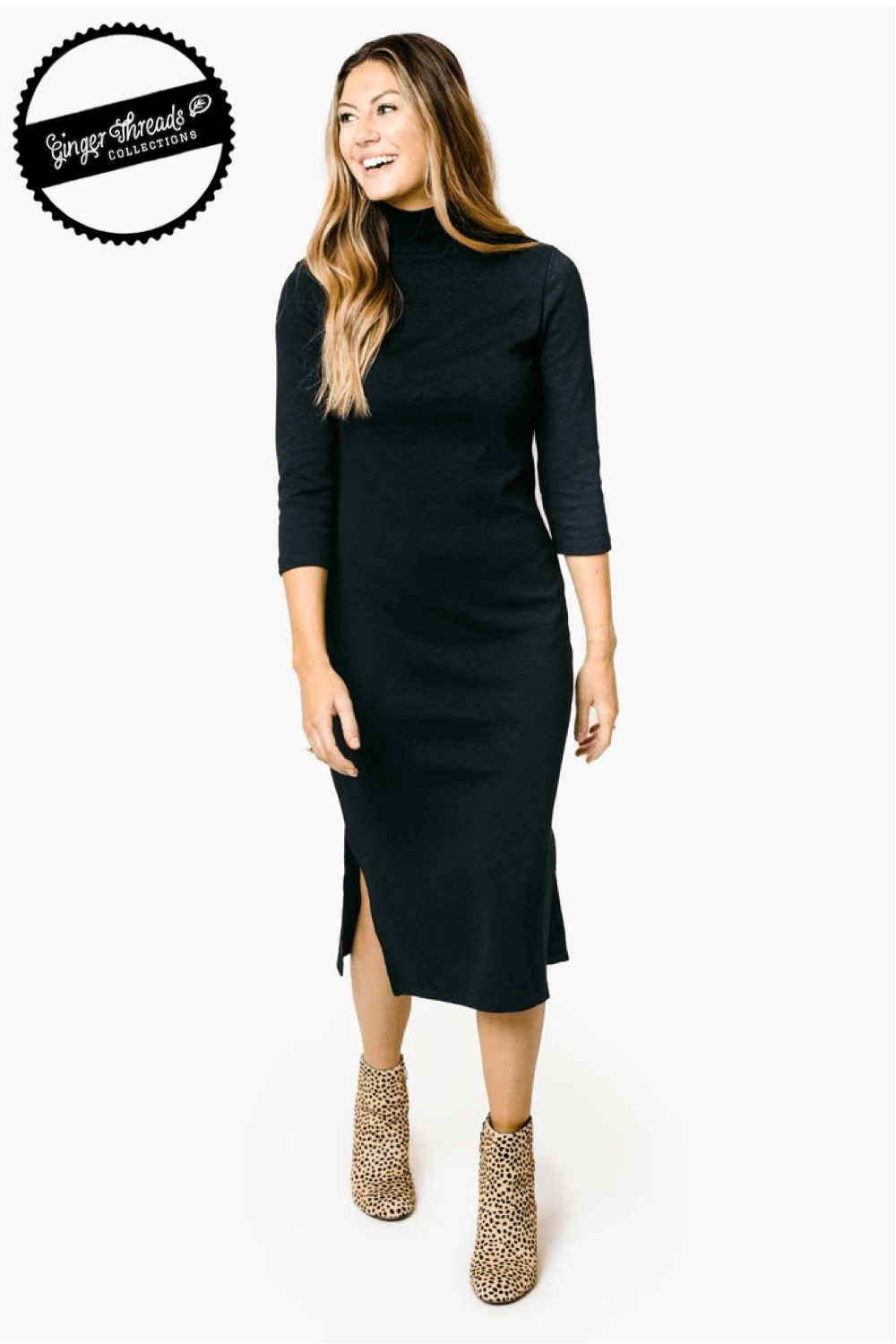 Ginger Threads Collections dress Mock Neck Black Dress