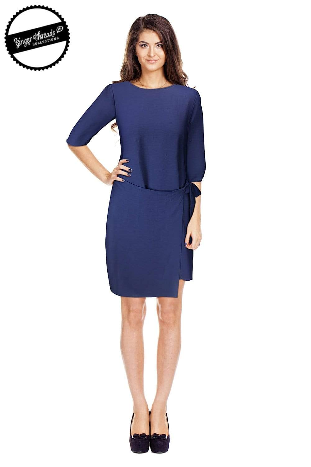 Ginger Threads Collections dress Royal Blue Tie-front dress