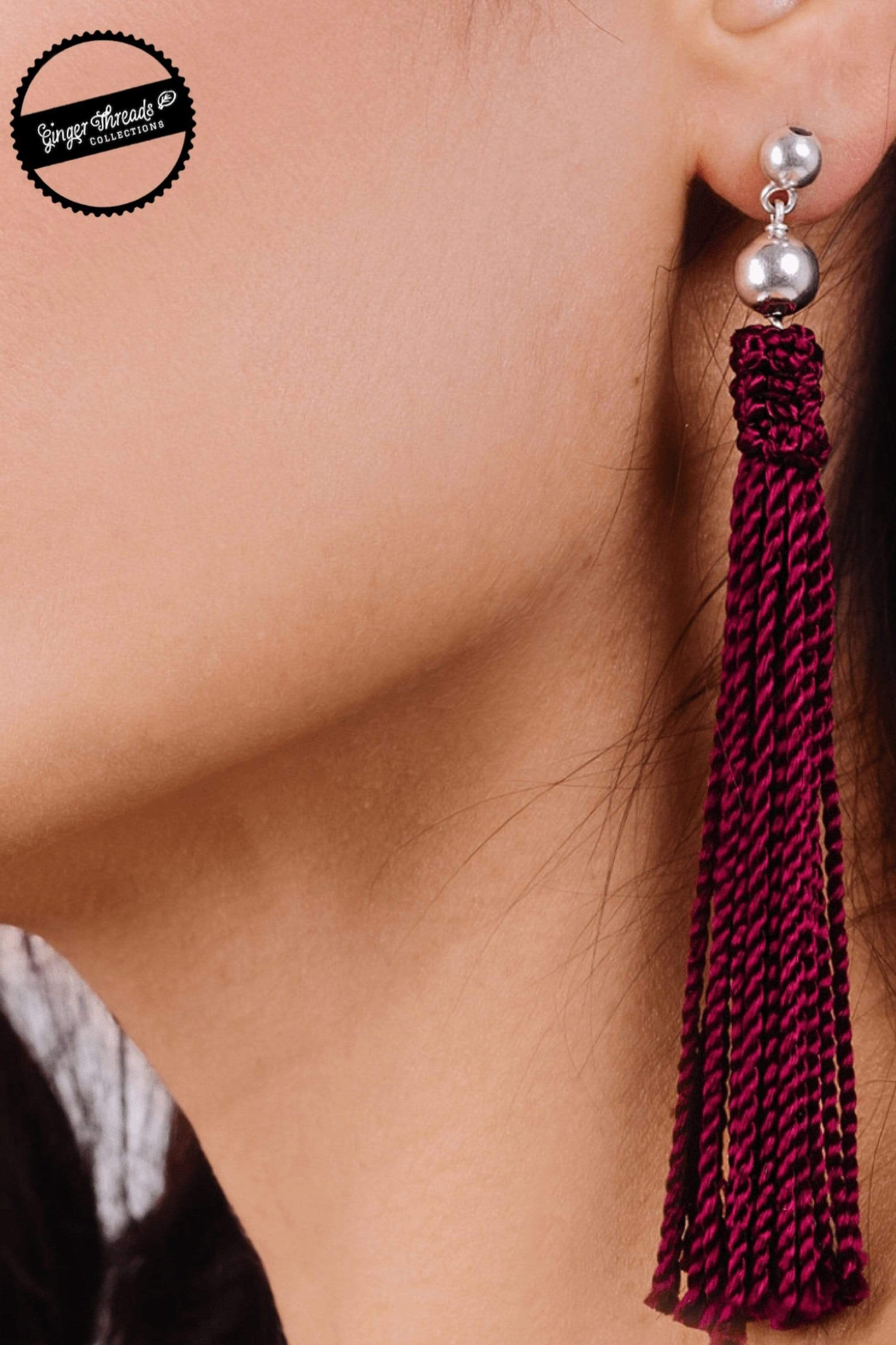 Ginger Threads Collections earrings Burgundy Statement Earrings