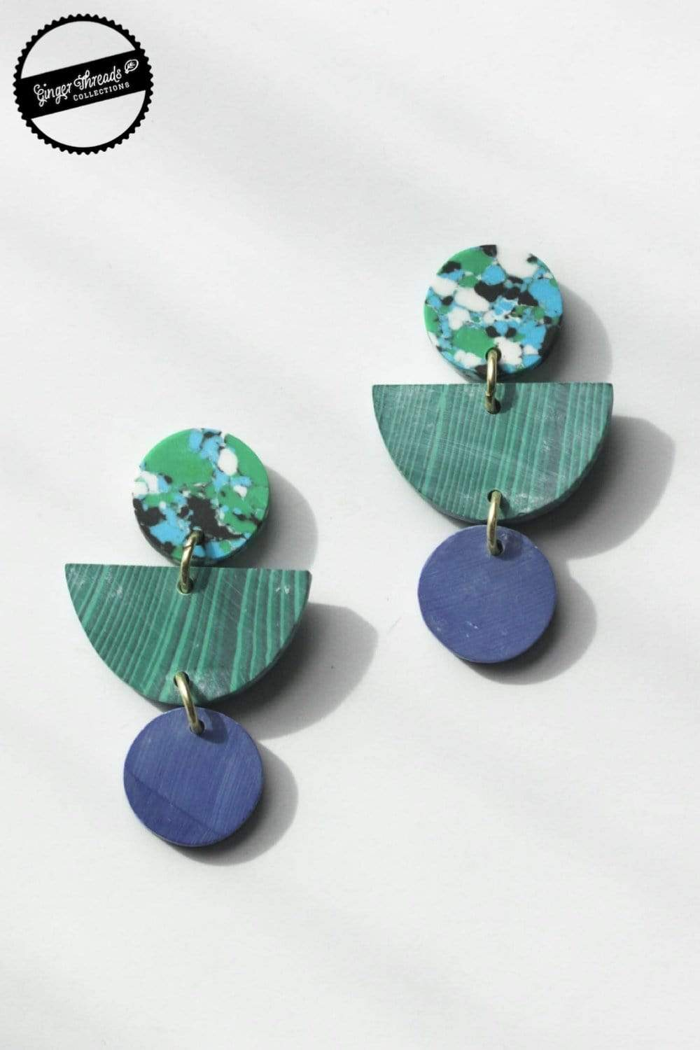 Ginger Threads Collections earrings Geo Clay Rainforest Earrings