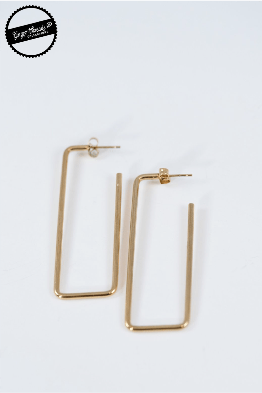 Ginger Threads Collections earrings Gold Geo Hoop Earrings