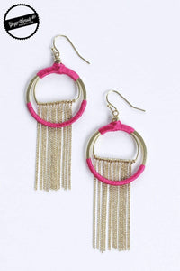 Ginger Threads Collections earrings Magenta Silk Fringe Earrings