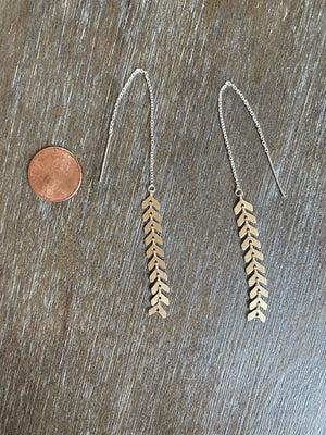 Ginger Threads Collections earrings Matte Gold Shadow Threaders