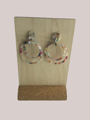 Ginger Threads Collections earrings Speckled Double Circle Dangle Earrings
